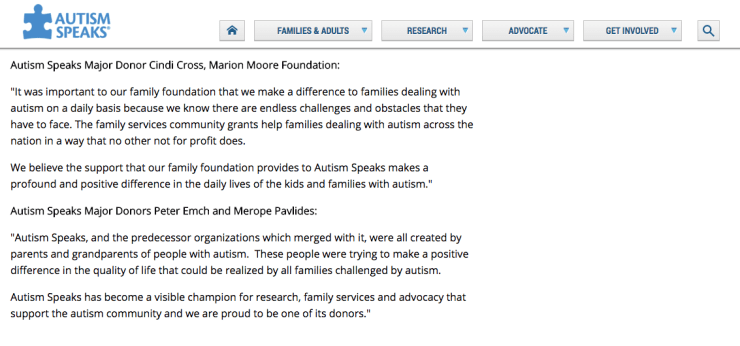 Autism Speaks Donor Testimony