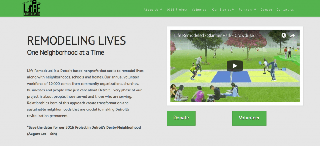Life Remodeled nonprofit websites