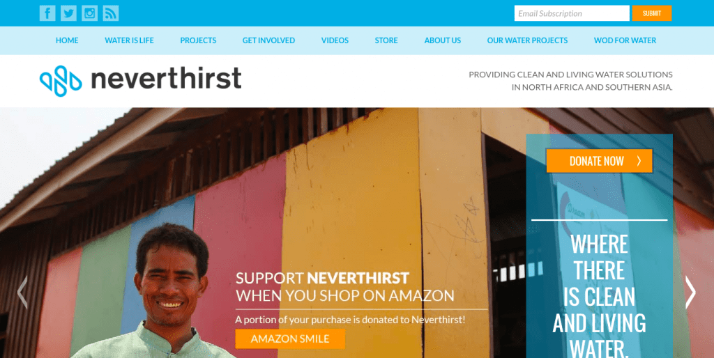 Neverthirst nonprofit website