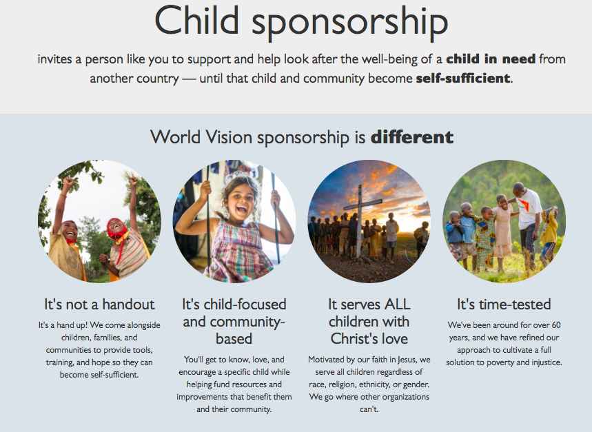 World Vision Copy Concise Short Clear nonprofit websites