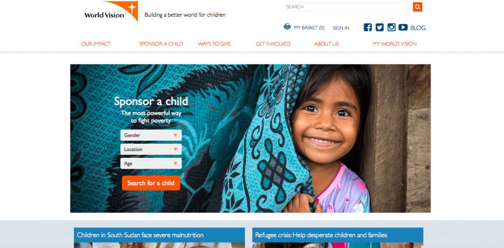 World Vision Home Page nonprofit websites