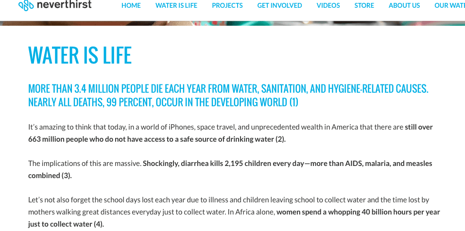Neverthirst Scannable Data nonprofit websites
