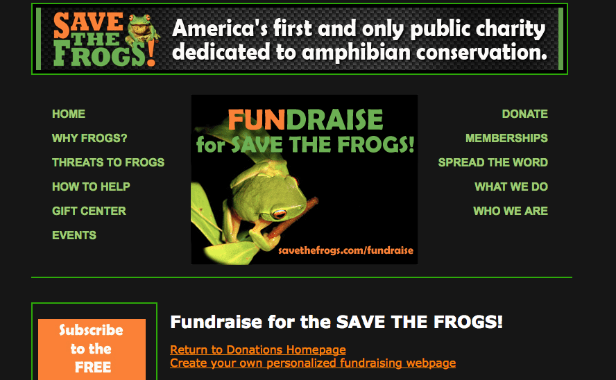"""Option to """"Fundraise"""" on Save The Frogs Website"""