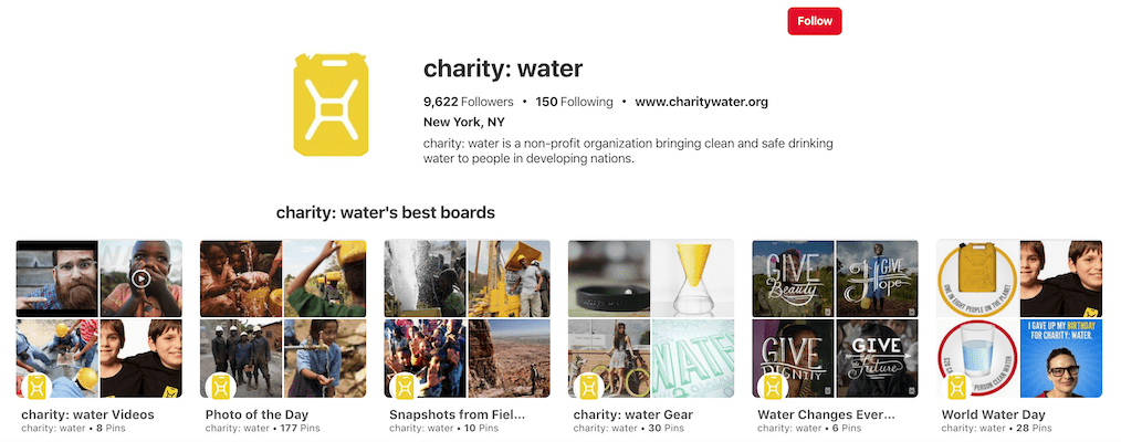 charity water pinterest