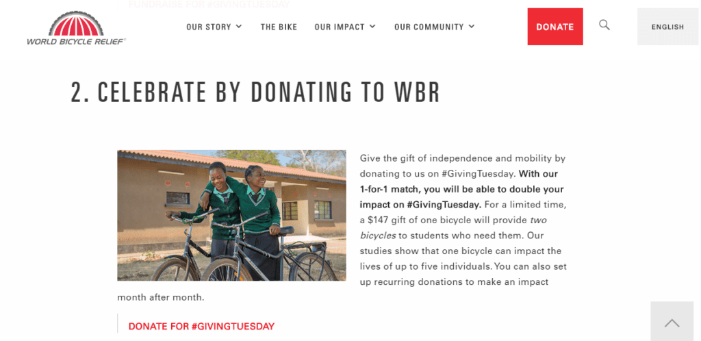 Remind supporters about #GivingTuesday