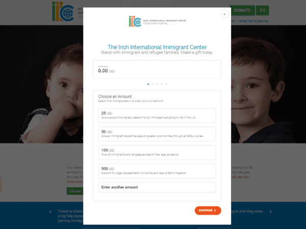 IIIC embedded pop-up donate form.