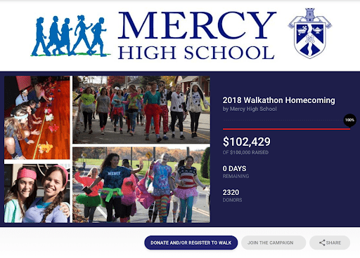 Mercy High School's fundraising campaign