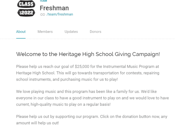 A student's fundraising appeal on CauseVox