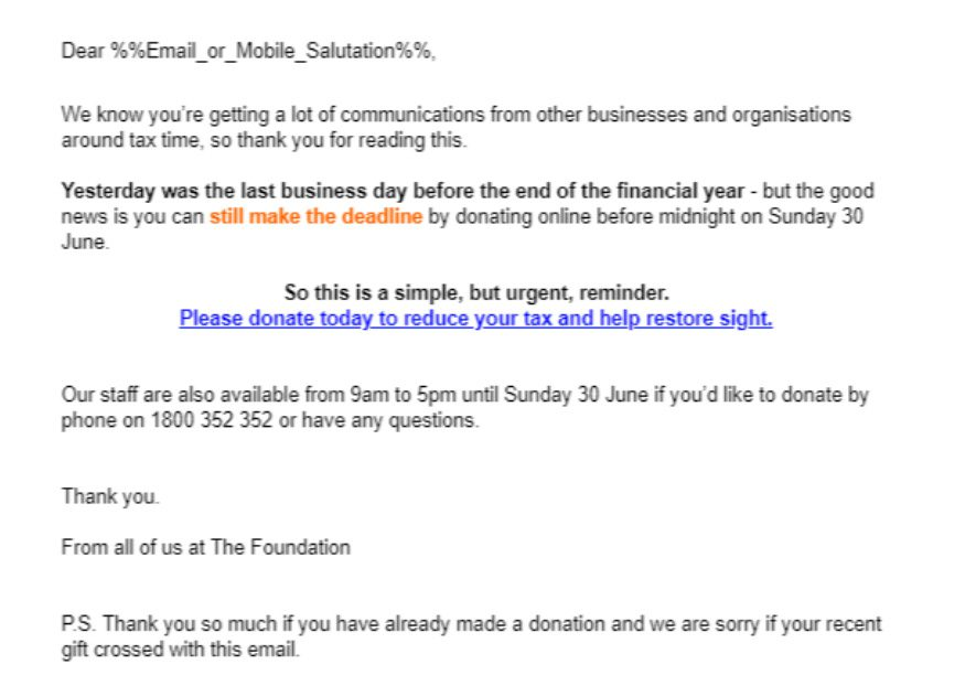 Example of a sandwich email used during an annual appeal