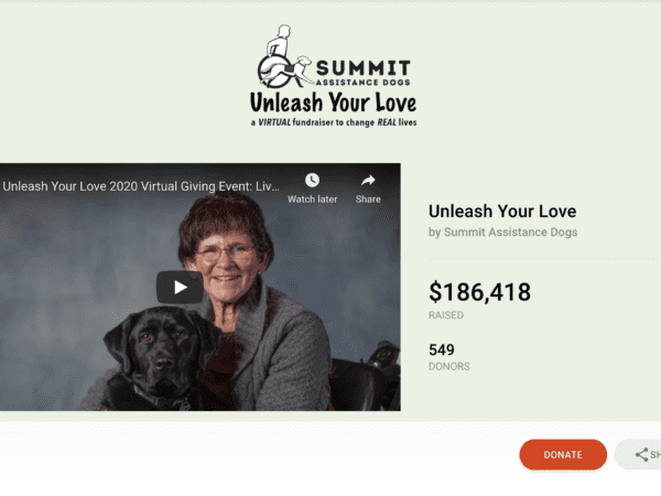 Customer Story: Summit Assistance Dog's Wildly Successful Virtual Luncheon On CauseVox